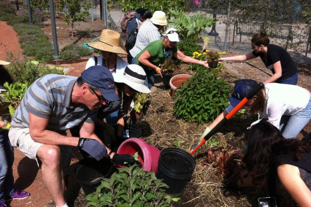Class participants planting in the Edible Garden