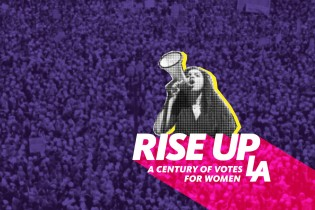 Rise Up L.A. Key Art title and protester