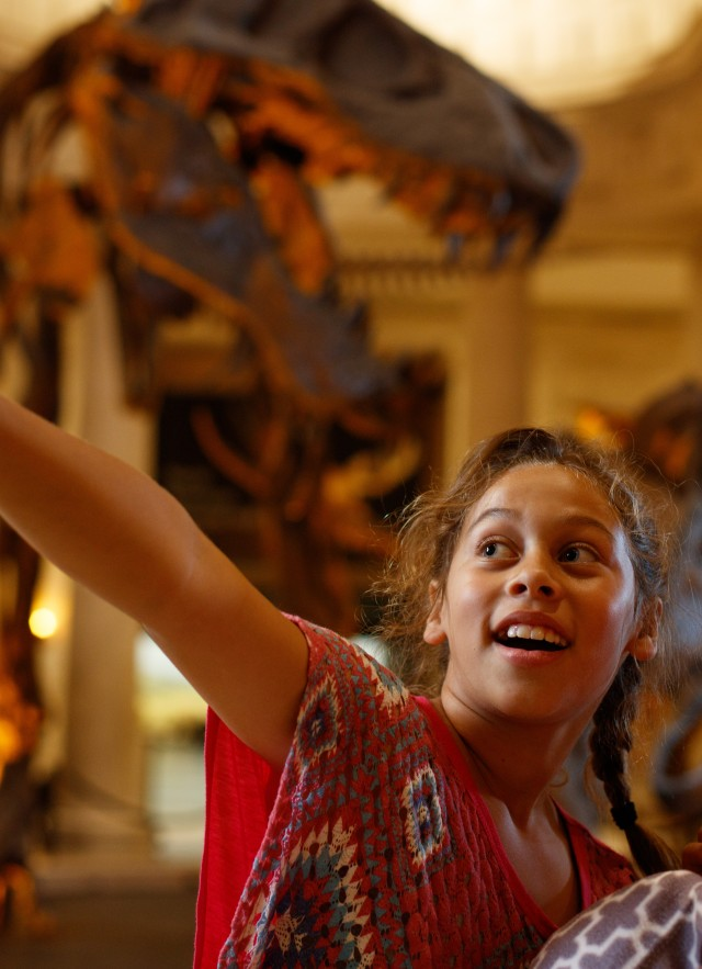 photograph of children in the dinosaur hall