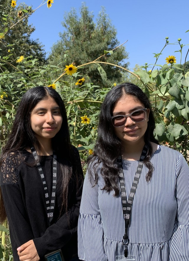 Melissa Nuñez and Maya Montelongo standing in the Nature Gardens