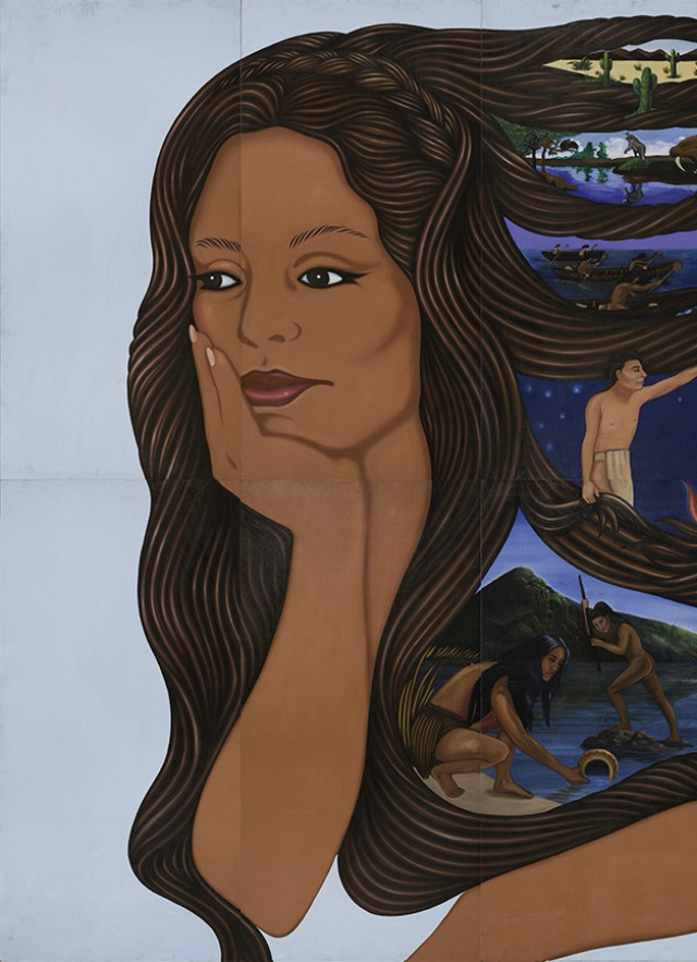 A painting of a woman with scenes of L.A. woven in her hair