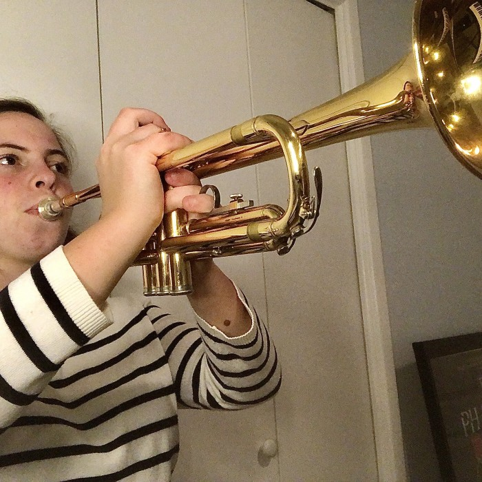 Samantha Playing the Trumpet