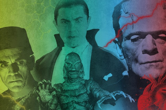 four icons of horror films, frankenstein, dracula, the mummy, and the creature