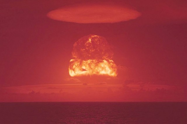 A large nuclear test exposion over the ocean from Castle Romeo