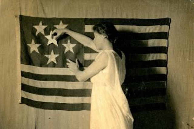 California putting the sixth star in the woman suffrage flag