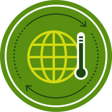 Icon of a globe and thermometer to represent climate change
