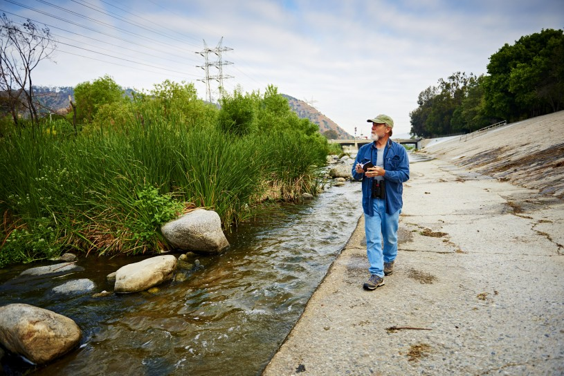 Kimball Garrett surveying the L.A. River