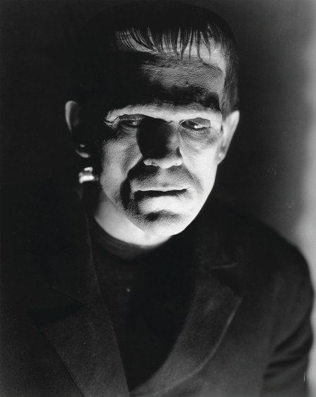 Still image from horror film Frankenstein, Frankenstein's monster looks to the left.